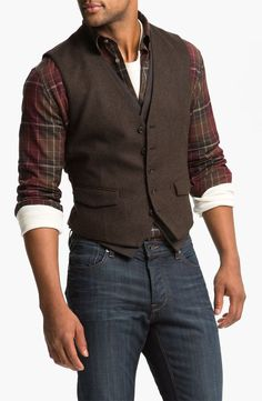 The vest. John Varvatos Star USA Double Layered Vest available at Sharp Dressed Man, Well Dressed Men, Mode Masculine, Mode Outfits, Fashion Outfits, Fashion 2016, Fashion Boots, Latex Fashion, Emo Fashion