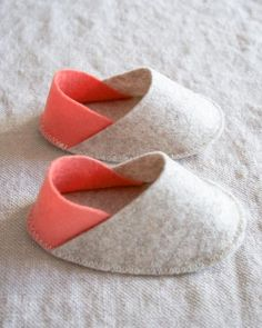 Felt Baby Slippers from Purl Soho. Creator says, they are her go-to baby shower gift and make a great add-on to a more utilitarian gift.