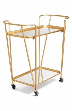 Main Image - Crystal Art Gallery Metal Mirrored Rolling Bar Cart