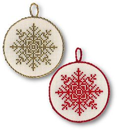 Snowflake Ornaments - DMC #christmas #crosstitch #ornaments