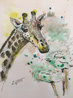 Love Drawings, Watercolor Tattoo, Giraffe, Tattoos, Art, Art Background, Felt Giraffe, Tatuajes, Tattoo