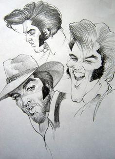 """CARICATURAS DE FAMOSOS: """"Elvis Presley"""" por Gabriel Balazs"""