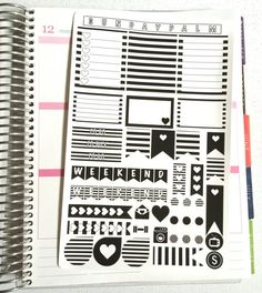 black and white planner stickers - Pesquisa Google