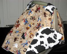 cowhide print fabric | Western Cowboy Cow Print Car Seat Canopy Cover by CountryCozyByRB
