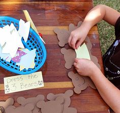 Dress the three bears: paper doll bears and pre-cut clothing items like shirts, pants, skirts, dresses and diapers.