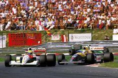 Ayrton Senna da Silva (BRA) (Honda Marlboro McLaren), McLaren MP4 / 6 - Honda RA121-E 3.5 V12 (1ª terminado) Nigel Mansell Ernest James (GBR) (Canon Williams Renault), Williams FW14 - Renault RS3 3.5 V10 (2ª terminado) 1991 Gran Premio de Hungría, Hungaroring f1-history.devian...