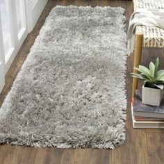 Shop for Safavieh Polar Shag Silver Polyester Runner Rug (2' 3 X 6'). Get free shipping at Overstock.com - Your Online Home Decor Outlet Store! Get 5% in rewards with Club O! - 21673782