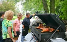 - Smoker - A covered smoker allows cooking in any weather. Barbecue Chicken, Roast Chicken, Bbq, Pig Roast, Large Crowd, Hawaiian Luau, Catering Companies, Grilling, Menu
