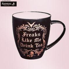 Alchemy Gothic Freaks Like Me Drink Tea Coffee Mug Drinking Cup - Purple Leopard Boutique Funny Coffee Mugs, Coffee Humor, Funny Tea Cups, Mugs Set, Tea Mugs, Cappuccino Tassen, Glass Coffee Cups, China Mugs, Matcha Green Tea