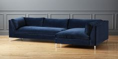 Navy Velvet Sectional Sofa with Chaise