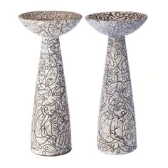 RUSCHA WG - (XX) - Pair of candlesticks 'Filigrana'  Modernist German pottery, c.1960, relief depicted and incised with stylized female figures and fish, 'filigree'. Drawing by Adele Bolz. Dim. 26,5cm