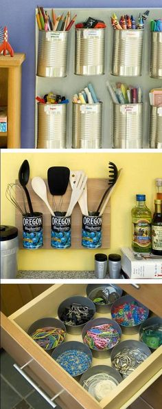 Clever Organizers : Can the Clutter  Recycled Tin cans are put to organizational use.