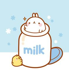 (๑・㉨・๑) ✮ ANIME ART ✮ Molang in Milk Bottle