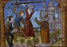 "People attacking a ""dangerous snail"" Angers - BM - SA 3390 f.089. Calendrier des bergers. Paris, 1493"