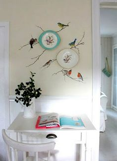How cute! Thrift plates. Cut birds from magazines or books, freehand some branches w craft paint & wallpaper paste birds onto them!