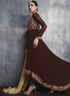 Wine Cream Embroidery Resham Work Designer Long  Georgette Anarkali Suit http://www.angelnx.com/Salwar-Kameez/Anarkali-Suits