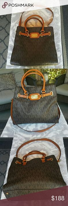 Michael Kors large brown bag Large beautiful Michael Kors bag in brown and tan with gold hardware, used but in very good condition  Buying a house and need to get rid of my never ending purse collection :) MICHAEL Michael Kors Bags Totes