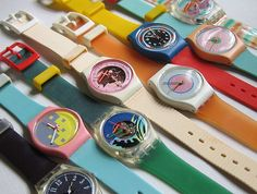 Swatch! I had so many of these and they were cool to wear more than one at the same time. I had the same one third from the bottom with the green band. These were SO cool and so were Forenza sweaters. Aww...the 80's rocked! LOVED THESE!!!
