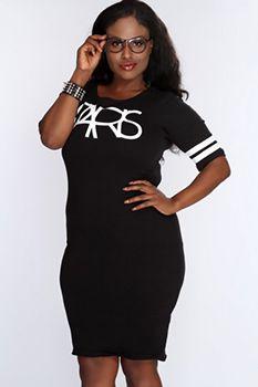 Black Graphic Design Short Sleeve Casual Dress  Plus size clubwear Plus size party dress Cute sexy dress Plus size mini dress Plus size fashion for women  Best from Pinterest http://plussizeonly.net/clubwear/