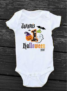 486afdca1 Baby Boy My First Halloween Onesie Personalized Baby Boys 1st Halloween  Onesie, My First Halloween