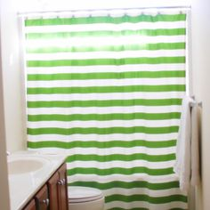 diy shower curtain has directions for which paints to use and a chevron pattern