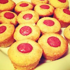 Mini Corn Dog Muffins. I made these for dinner tonight. One box Jiffy mix and about 1.5 hot dogs made 8 muffins (in a 12-muffin tin).