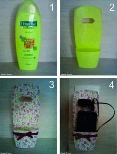 Recycle old shampoo bottle's for a nifty holder on the plug outlet!