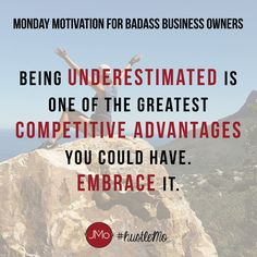 UNDERESTIMATION IS ONE OF YOUR GREATEST ADVANTAGES. Need some Monday motivation before your local business opens up shop for the week? This is for our fellow goaldiggers who are ready to shift their perspective on Mondays and adopt a #millionairemindset for the week. #hustleMo x JMo Digital Marketing Solutions | entrepreneur quotes, entrepreneur inspiration, boss lady quotes, boss lady inspiration, inspirational quotes, monday motivation quotes, small business quotes, small business…