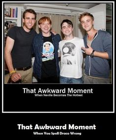 Ron is the hottest. Then Draco. Then Neville. And for me  Harry is not attractive, at least in this photo.