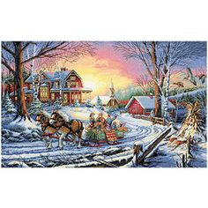 """Dimensions Gold Collection Pleasures Of Winter Counted Cross Stitch Kit, 16"""" x 10"""", 18 Count"""