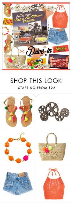 """""""Drive-in Movie * Orange Outfit"""" by calamity-jane-always ❤ liked on Polyvore featuring Benzara, Lilly Pulitzer, New Look, DateNight, fashionset, drivein and summerdate"""