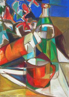 Stillleben mit Flaschen - 1988, Öl auf Leinwand, 100 x 70 cm