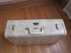Vintage+Samsonite+Hard+Shell+Cream+/+Light+Tan+Colored+Suitcase+