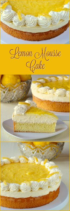 Lemon Mousse Cake - an easy version of lemon mousse comprised of lemon curd and whipped cream sits atop a light-as-air sponge cake and is then topped with more lemon curd, whipped cream and candied lemon peel.