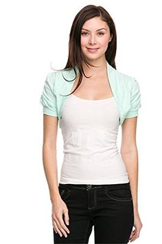 Hollywood Star Fashion Women's Ruched Short Sleeves Cropped Open Shrug Jacket >>> Want additional info? Click on the image. (This is an affiliate link) #Vests