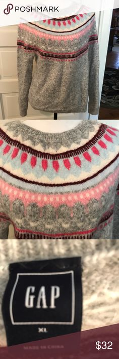 Lovely fair isle sweater from Gap. XL. NWOT. Beautiful sweater in fair isle pattern. Body is grey. Pattern in shades of pink, blue and white. Worn once. From GAP. Size XL. So pretty in person! GAP Sweaters Crew & Scoop Necks