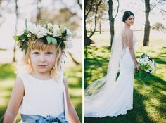 Flower girl floral crown, white and greenery | Sugar Branch Events | Cami Jane Photography