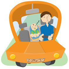 Baby Instructional Illustrations - Driving in Car Illustrated by Heather Martinez Creative Designs