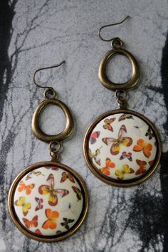 Butterfly Fabric Button Earrings Woodland Chic by ButtonBizarro, $12.00