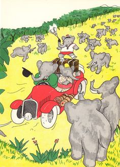 Babar the Elephant Celeste and Arthur in The Car Jean de Brunhoff 1960s Childrens Book Illustration to Frame. $9.99, via Etsy.