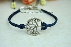Tree of Life Bracelet Antique Sliver Navy  Wax by BeautifulShow, $0.90