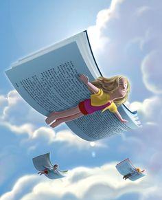 Llega el verano, las vacaciones… tiempo de volar con la lectura (ilustración de Skizografics)