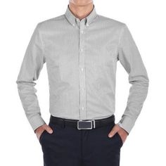 Verno Men's Black and White Stripe Slim Fit Dress Shirt