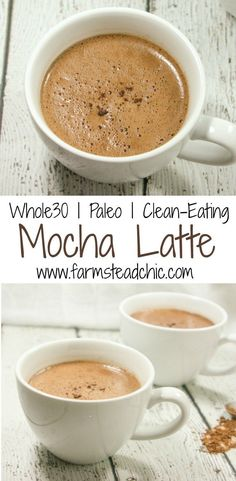 This healthy Paleo & Mocha Latte only uses 4 ingredients! Made with coffee, coconut milk, cacao + vanilla bean, it's a guilt-free way to start the new year!: And it's low carb and keto too! Paleo Recipes, Low Carb Recipes, Whole Food Recipes, Drink Recipes, Freezer Recipes, Budget Recipes, Fast Recipes, Whole 30 Diet, Paleo Whole 30