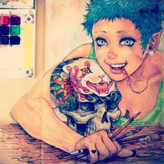 Girl.cat.tattoo.draw