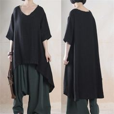 Women  cotton linen  loose irregular shirt