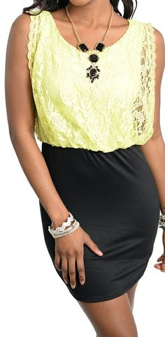 Yellow Lace Dress Solid Black Skirt Cocktail Workday Party Dress