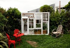 """greenhouse of old windows """"Old window greenhouse by Lucy and Stephen Marr. Photos by Todd Selby. theselby.com"""""""