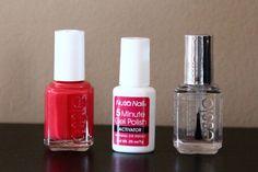 shellac nails at home  Nutra Nail 5 minute gel polish activator+regular color polish+essie no chips ahead