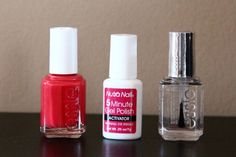 shellac nails at home  Nutra Nail 5 minute gel polish activator+regular color polish+essie no chips ahead